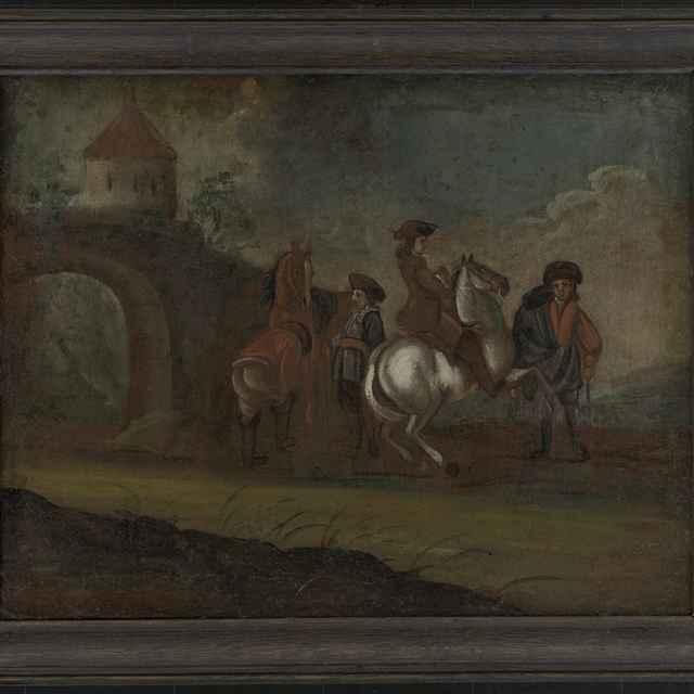 """Obraz, olej na plátne, """"Odchod dvoch jazdcov z hradu"""""""