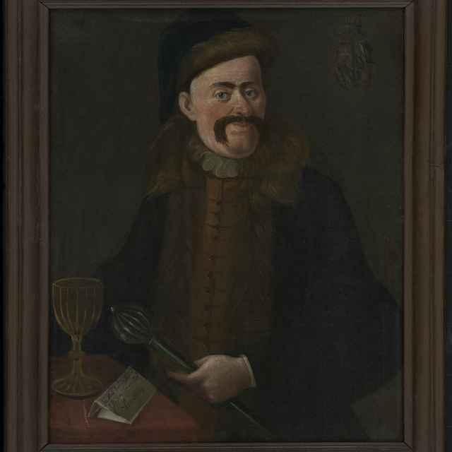 Obraz, olej na plátne, Podobizeň vojenského veliteľa s palcátom v ruke