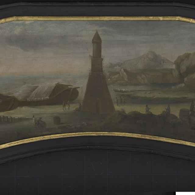 Neznámy maliar: Prístav s majákom, supraporta