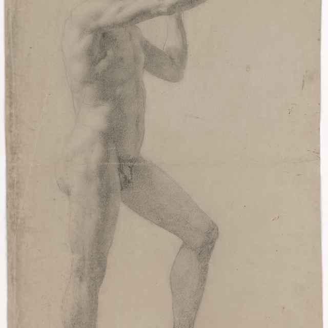 Stojaci mužský akt so zdvihnutou pravou rukou - Pálka, Ján