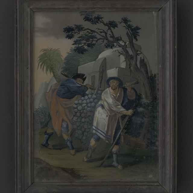 Obraz - maľba na skle, profilovaný hnedý rám, biblický strapec hrozna, 17, 5x23, 5cm, 18. st.