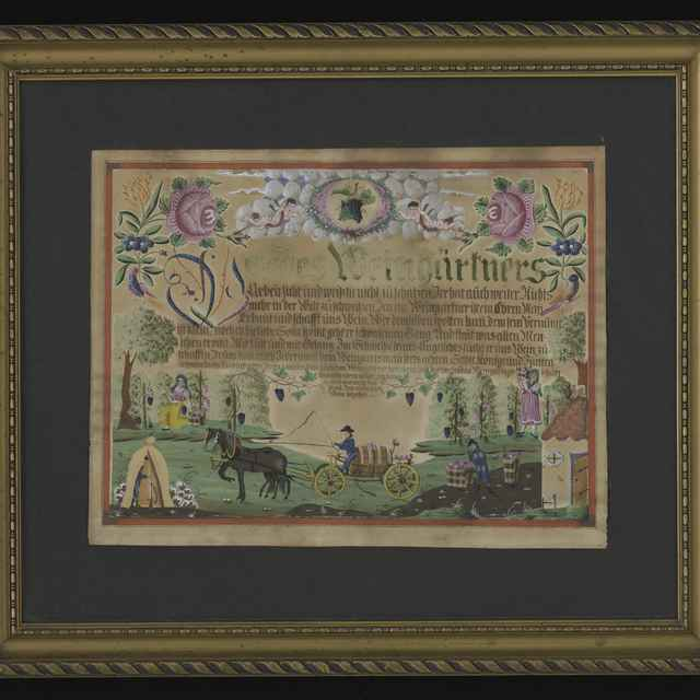 """Obraz ľudový, akvarel, """"Wer des Weingärtners Arbeit sieht.."""", 39x49cm, v čiernej pasparte, v zlatom profilovanom ráme 61,5x72cm, zač. 19. st. - Muzeálny objekt"""