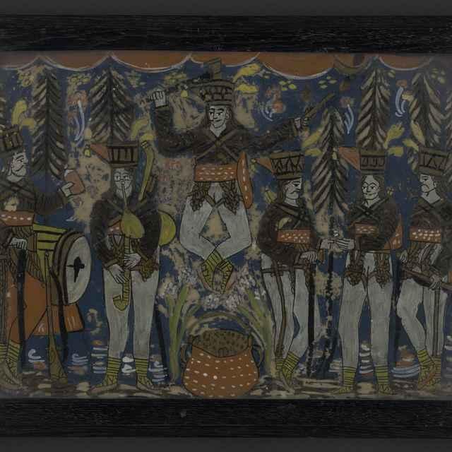 Sklomaľba - Jánošíkov tanec, tmavý rám, 35x45cm