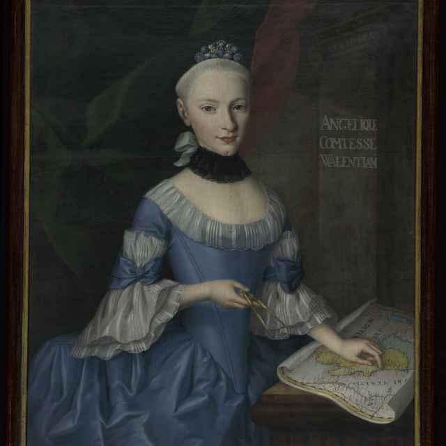 Obraz - olejomaľba : Portrét dámy-komtesy Valentian - Muzeálny objekt