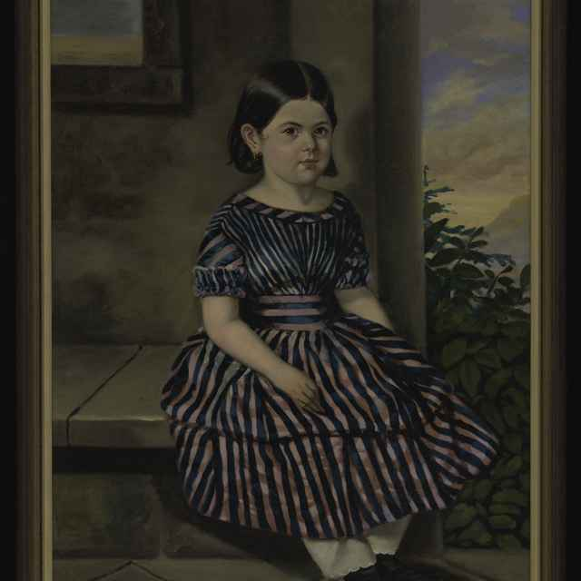 Obraz - K.Steinacker (?): Portrét tmavovlasého dievčatka v pásikavých šatách, olej na plátne, 1840-50, reštaurované, bez rámu 93x69cm, s rámom 103x76,6cm - Muzeálny objekt