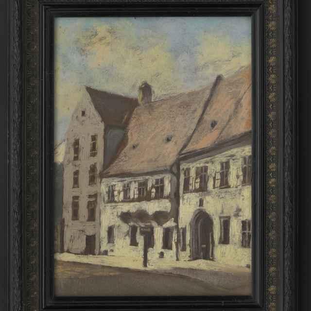 Obraz - Nezn. autor: Pohľad na budovu vinárne Veľkých františkánov, olej, 41x30,3 cm, s rámom 53x41,5 cm