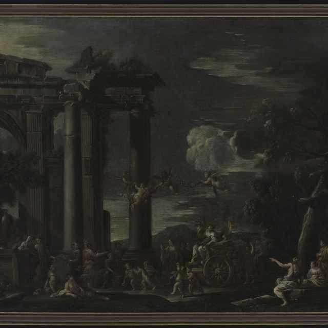 Obraz - Triumf Flóry, olej na plátne, antické zrúcaniny, mytologická scéna, okrídlené bytosti, stromy, plátno 90x128cm - Muzeálny objekt
