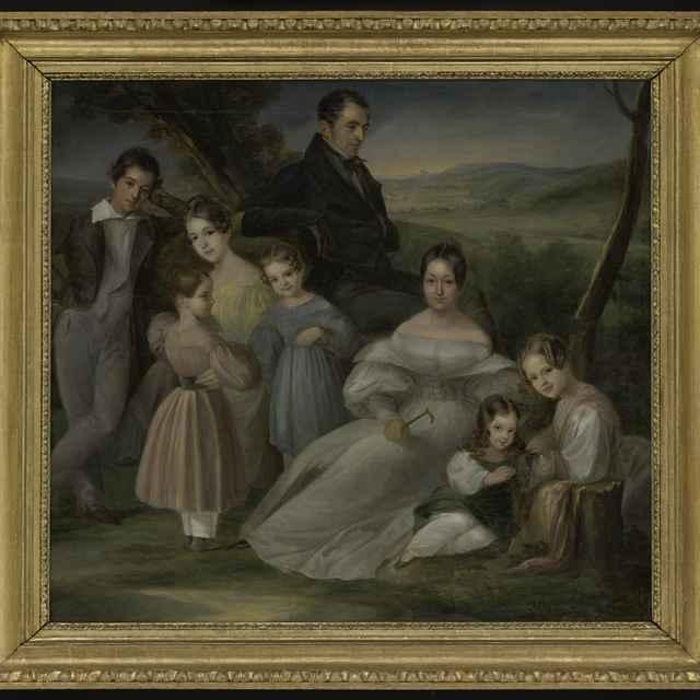 Obraz - Skupinový portrét rodiny Fröhlichovcov (v pozadí časť Bratislavy - Karlova Ves/Lamač), olej na plátne, 1834, zlátený a bronzovaný profilovaný rám, 64,5x71,7s rámom 79,1x85,7 cm - Muzeálny objekt