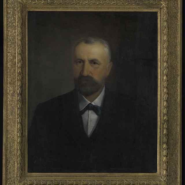 Obraz - Portrét bratislavského mešťanostu, olej na plátne, zlátený rám, autor: L.Pitthordt, 54x67 cm - Muzeálny objekt