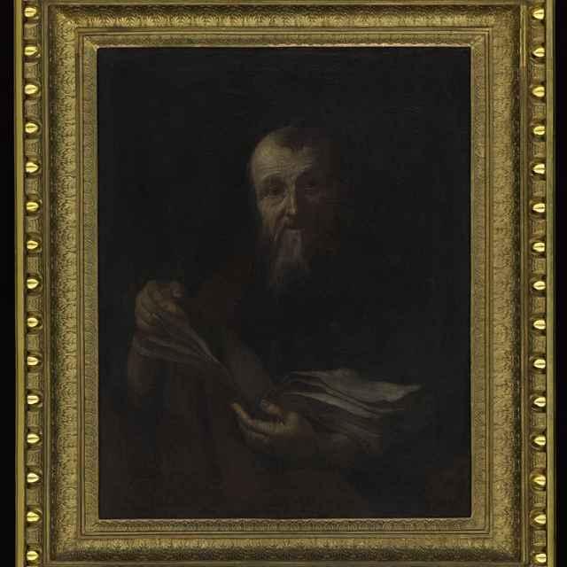 Obraz - starec s otvorenou knihou, rám s vykrajovaným perlovcom, 85x72cm
