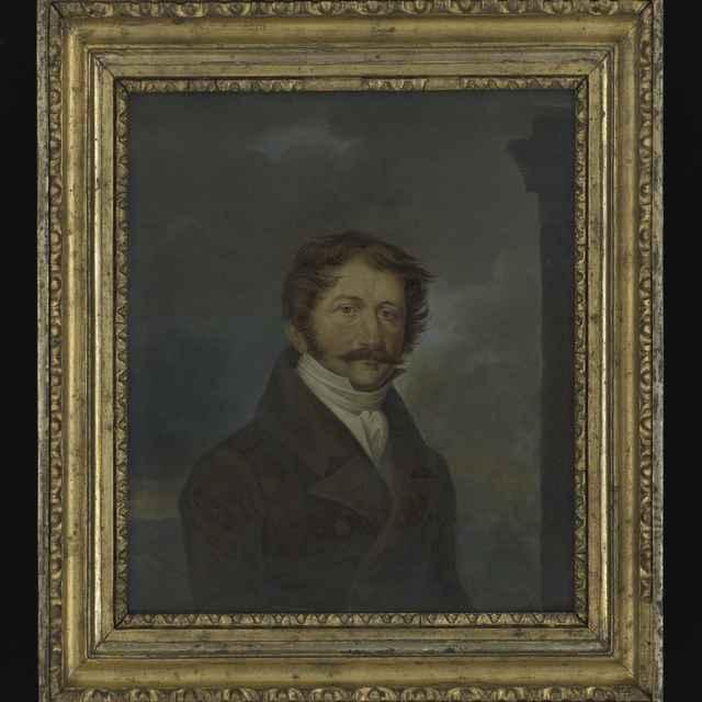 Obraz - Portrét bratislavského mešťanostu, olej na papieri a kartóne, neznámy autor, 40.roky 19.stor., v ráme a pod sklom, 42,5x38 cm