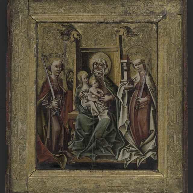 Obraz - Sv. Anna Samotretia, gotická tabuľová maľba na drevenej doske, pravá polovica oltárneho diptychu, v originálnom širšom drevenom pozlátenom ráme s vtláčanou reliéfnou výzdobou, 46x52,5cm, 15. st. - Muzeálny objekt