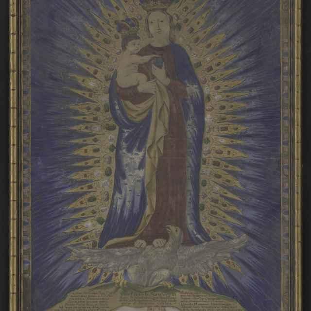 Obraz - Madona pútnická - medirytina, ručne kolorovaná, úzky pozlátený rám