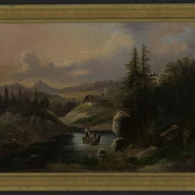 Obraz - krajinka s jazerom, loďka, 2 postavy, plátno 42x55cm, pozlátený drev. rám