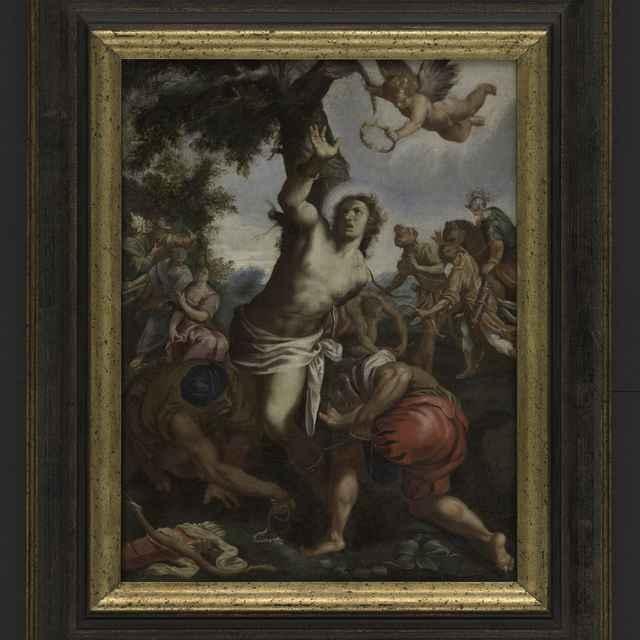 Obraz - olej na plátne, sv. Sebastián priviazaný ku stromu, anjel s korunou, rám 53x43cm - Muzeálny objekt