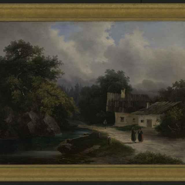 Obraz, olejomaľba, horská krajinka, 50x41cm - Muzeálny objekt