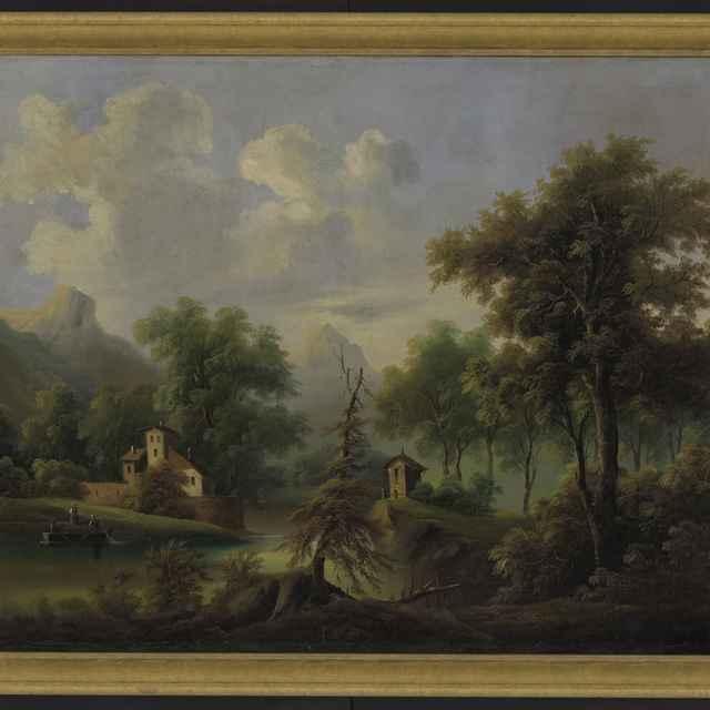 Obraz, horská krajina,stromy,v popredí dom, v strede kaplnka, 74x99,5cm, bez rámu