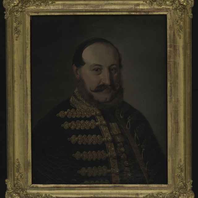 Obraz - neznámy maliar: Portrét muža, olej na plátne, 2. polovica 19. storočia, R: 69,5x55 cm, dobový pozlátený rám 86x73 cm - Muzeálny objekt