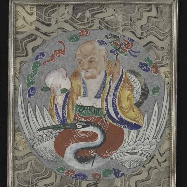 Obraz - maľba na papieri, bôžik, labuť, pasparta, plechový rám, Čína, 27cm