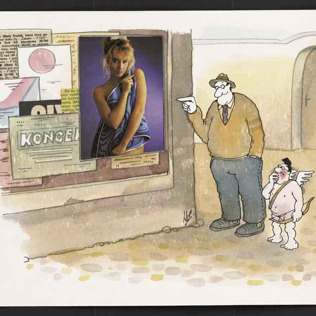 Kombinovaná technika-kresba tušom, ceruzou, akvarelom, lepené výstrižky z novín od J.Nováka a J.S.Skoupého - Muž pri tabuli s plagátmi, vedľa neho amor, NÓ89, 20,9 x 29,5 cm - Novák, Jiří