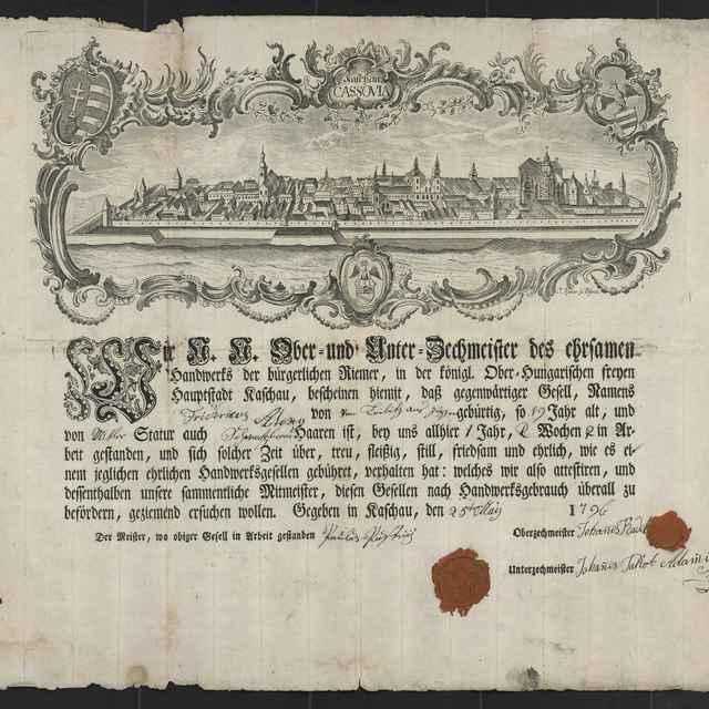 Tovarišské vysvedčenie remenárskeho cechu v Košiciach z roku 1796