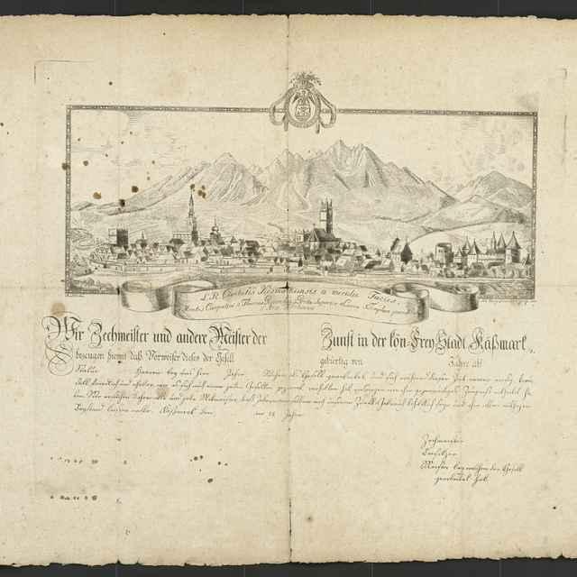 Vysvedčenie kežmarských cechov pre vandrujúcich tovarišov (nevyplnené) - Lumnitzer Johann Georg