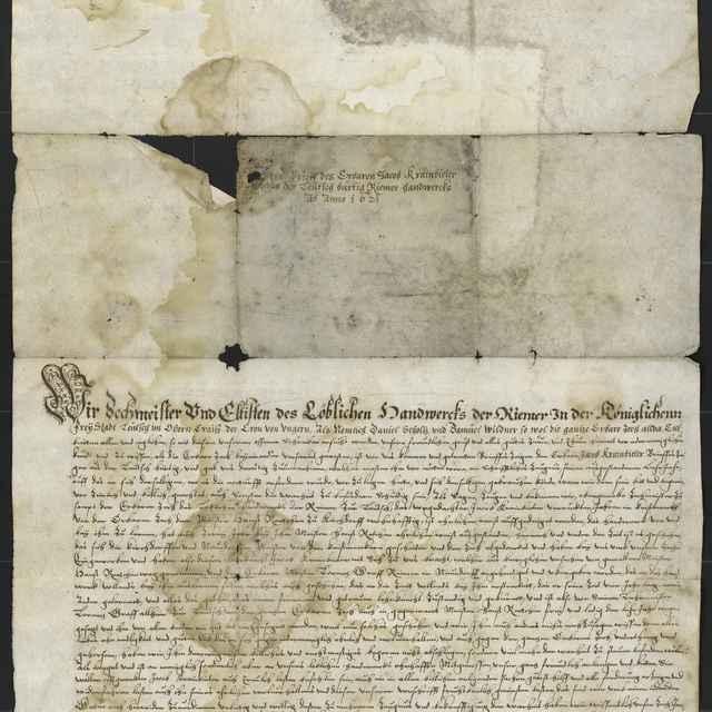 Tovarišské vysvedčenie remenárskeho cechu z Levoče z roku 1621