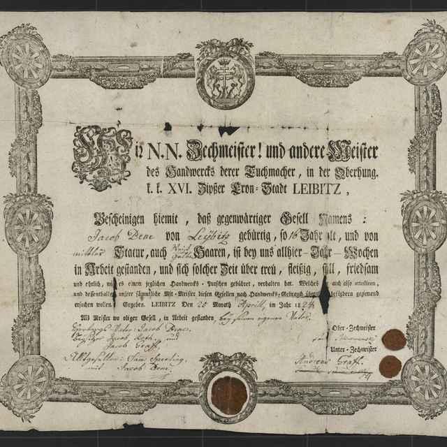 Tovarišské vysvedčenie súkenníckeho cechu v Ľubici z roku 1824