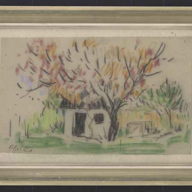 Ilečko, Jozef: Vinohradnícka búda, kresba pastelom na papieri, medzi 1965 - 1970 - Ilečko, Jozef