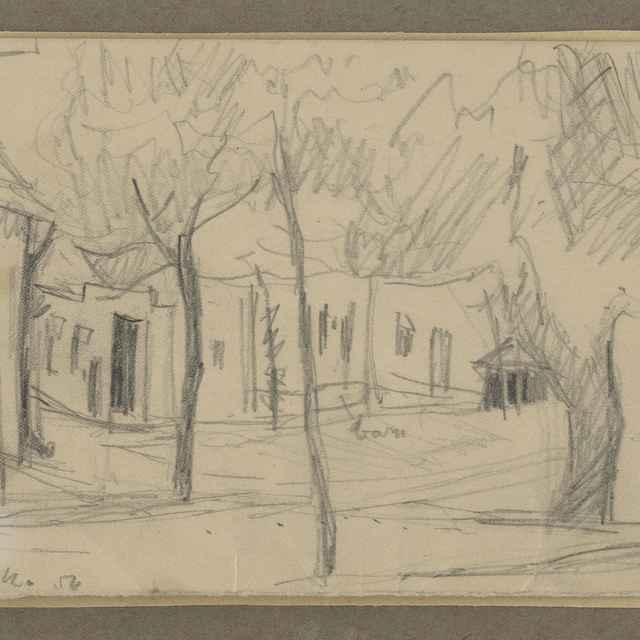 Ilečko, Jozef: Ulička, kresba ceruzou na papieri, 1954 - Ilečko, Jozef