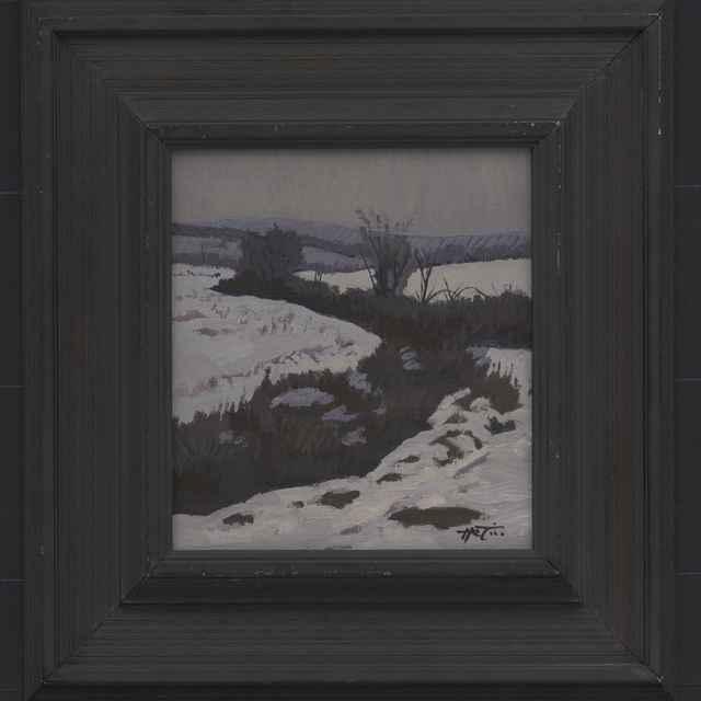 Hrtús, František: Zimné medze - zima, olejomaľba na sololite, 1995 - Hrtús, František