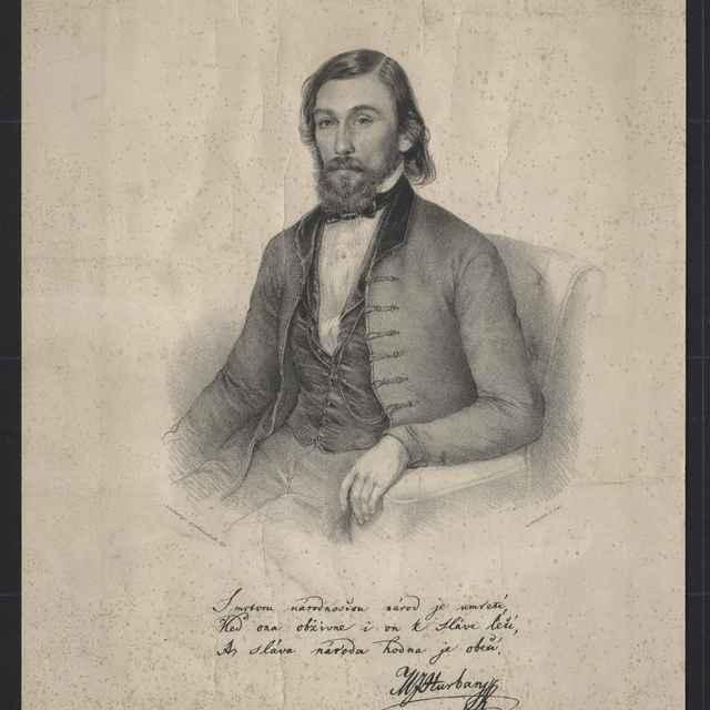 Jovanovič, Anastas: Jozef Miloslav Hurban, litografia na papieri, 1849 - Jovanovič, Anastaz