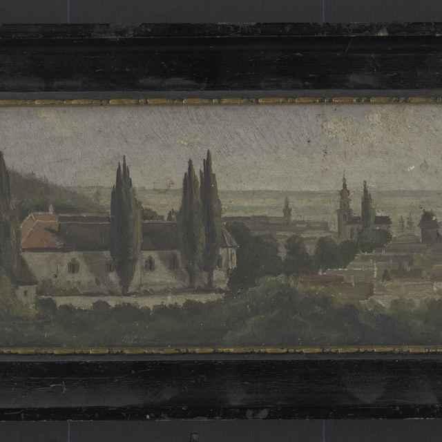 Neznámy autor: Pohľad na kaštieľ grófa Arthura Polzera-Hoditza, olejomaľba na dreve, začiatok 20. storočia - neznámy (osobné meno)