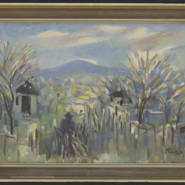 Ilečko, Jozef: Modranská jar, olejomaľba na papieri, 1972 - Ilečko, Jozef