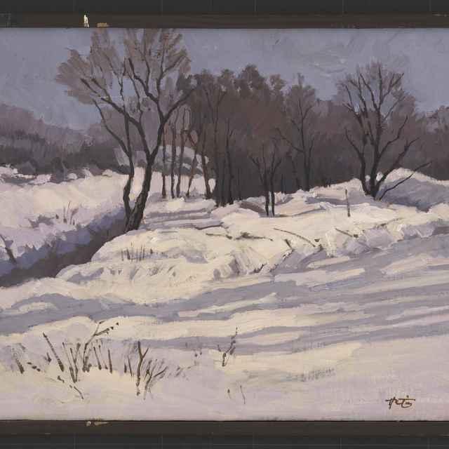 Hrtús, František: Zimné slnko, olejomaľba na plátne, 1996 - Hrtús, František