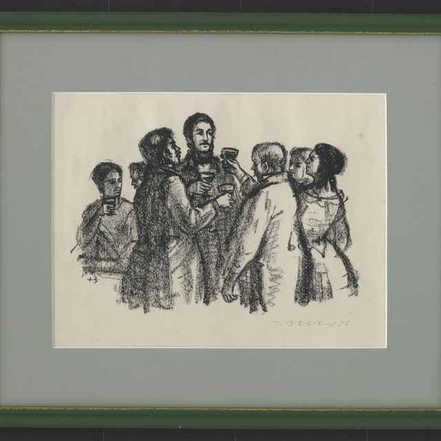 Baláž, Jozef: Na návšteve u Ostrolúckych, kresba uhľom na papieri, 1956 - Baláž, Jozef