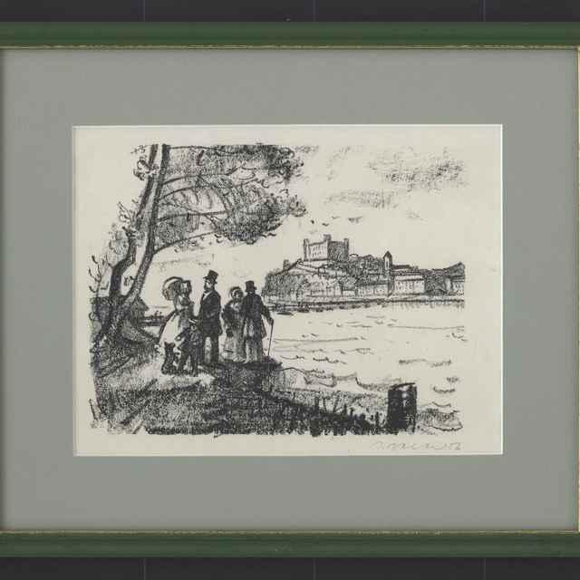 Baláž, Jozef: Pri Dunaji, kresba uhľom na papieri, 1956