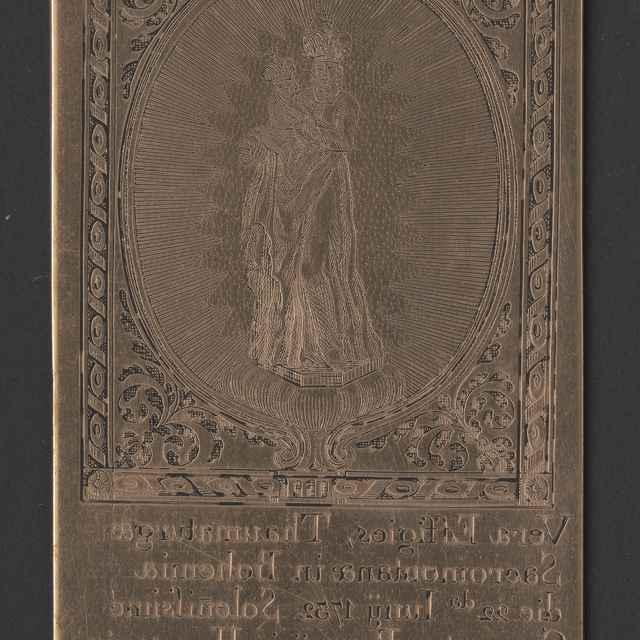 Štočok k medirytine, mariánsky obraz v bratislavskom kostole františkánov, dat. 1732 (zabalený v reprodukcii), 10,8x6cm