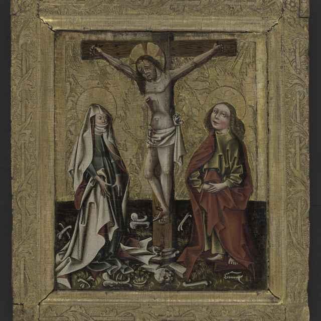 Obraz - Ukrižovanie, gotická tabuľová maľba na drevenej doske, ľavá polovica oltárneho diptychu, v originálnom širšom drevenom pozlátenom ráme s vtláčanou reliéfnou výzdobou, 46x52,5cm, 15. st. - Muzeálny objekt