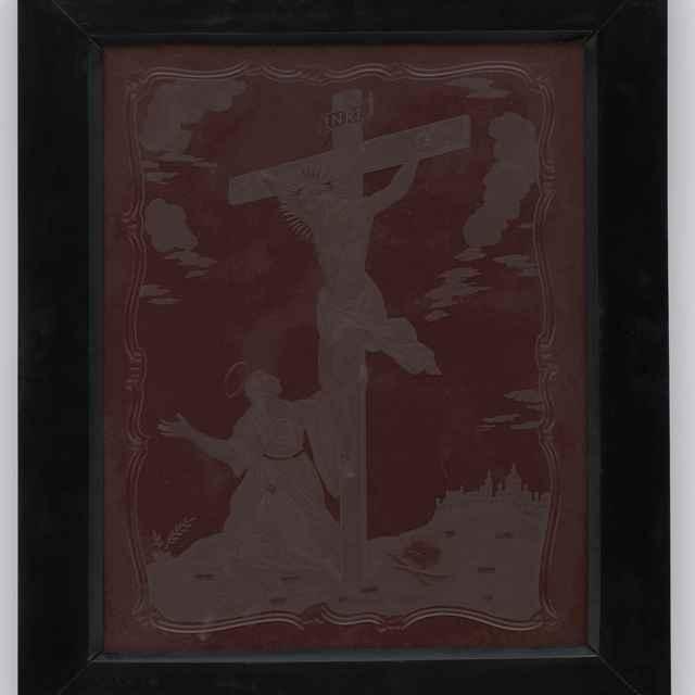 Obraz rytý na skle - Ukrižovanie, p. Mária pod krížom, rokajové orámovanie, 36x22cm, podložené červeným zamatom