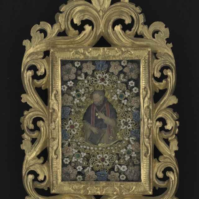 Obraz kláštorný, sv.Hieronym, voskový medailón, umelé kvety, ozdobný pozlátený rám, 18. stor., 24x39cm