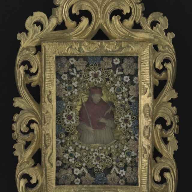 Obraz kláštorný, sv.Bonaventura, voskový medailón, umelé kvety, ozdobný pozlátený rám, 18. stor., 24x39cm - Muzeálny objekt