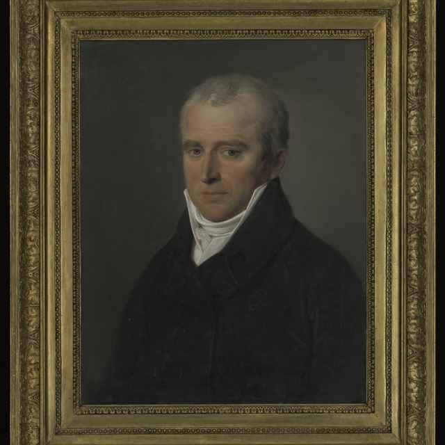 Obraz - Krafft: Portrét Adama Jurenaka, olej na plátne, 1810, zlátený a bronzovaný profilovaný rám, 61,5x48,5 cm, s rámom 81x68 cm, vzadu nápis, poškodený