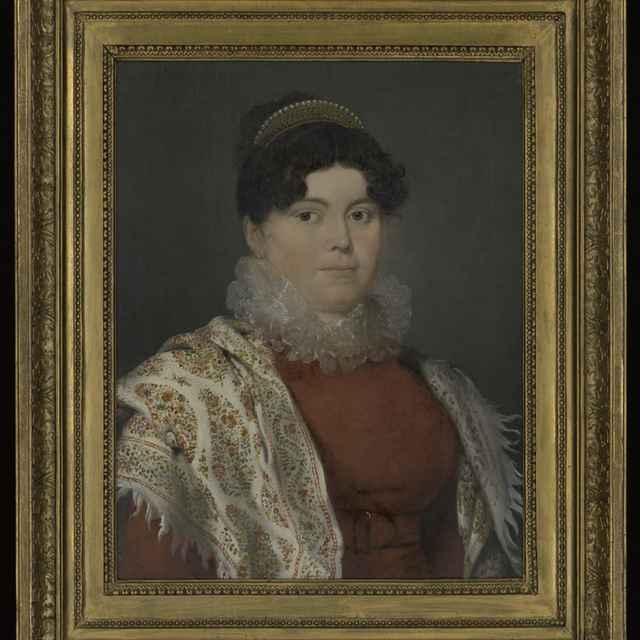 Obraz - Krafft: Portrét Ludmily Jurenakovej, rod. Rupp, olej na plátne, 1810, zlátený a bronzovaný profilovaný rám, 61,5x48,5 cm, s rámom 82x69 cm, vzadu nápis, poškodený - Muzeálny objekt