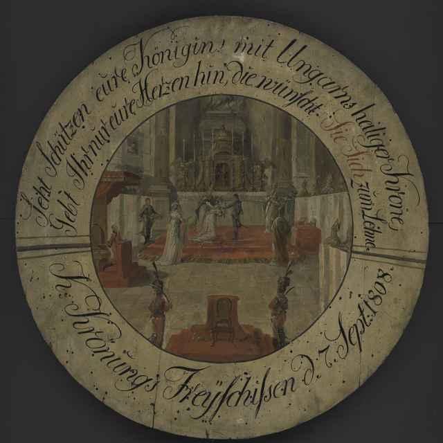 Terč strelecký, maľba na dreve, korunovácia Márie Ludoviky v Dóme, dat.1808, p. 67,5cm