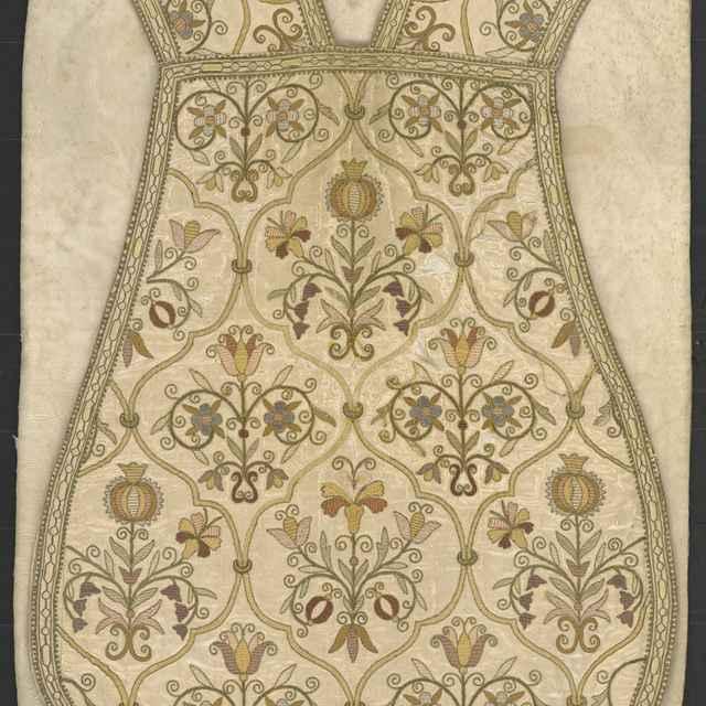 Casula, rôznofarebná ornamentálna výšivka, hodváb