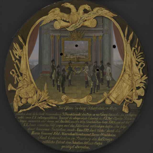 Terč strelecký, maľba na dreve, dôstojníci v interiéri, obraz s bojovou scénou, pokál strelcov, dat. 1842, p. 60,5cm