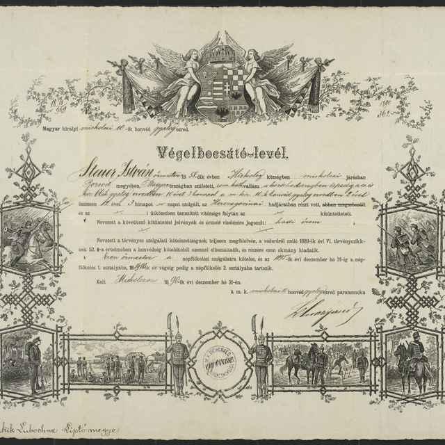 Pamätná listina o prepustení z armády 1890