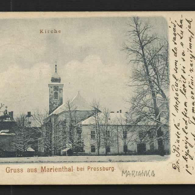Pohľadnica Mariathal (Marianka) adresovaná Ľ. Riznerovi