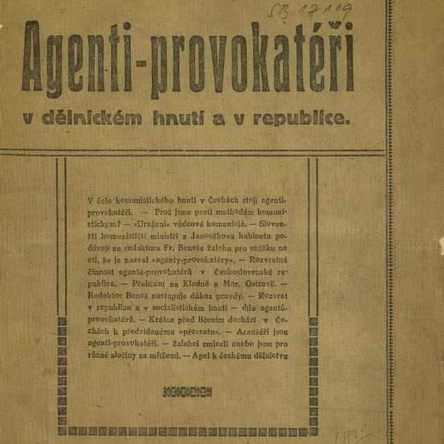 Agenti - provokatéři v dělnickém hnutí a v republice - Beneš, František